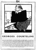 Georges Courteline (1858-1929), French writer. Drawing by Bib (Georges Breitel, 1888-1966). Text by Henri Béraud (1885-1958). © Roger-Viollet