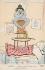 """Inondations de 1910 à Paris. Carte postale dessinée par A. Sauvage : La crue. """" Jamais je n'aurai cru que la crue se serait tant accrue. """" © Roger-Viollet"""