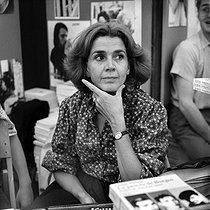 "Gisèle Halimi (1927-2020), Tunisian-born French lawyer, feminist activist and politician, attending the ""Fête de l'Humanité"", annual festival organized by the French communist newspaper ""L'Humanité"". La Courneuve (France), September 1978. © Roger-Viollet"