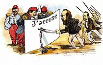 "Dreyfus Affair. Caricature from ""J'accuse"" by Emile Zola (1840-1902), French writer.  © Roger-Viollet"