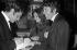Joe Dassin, Anouk Aimée et Pierre Barouh. Cannes (Alpes-Maritimes), Midem, 1968.  © Noa / Roger-Viollet