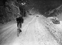 Raymond Poulidor (1936-2019), French racing cyclist, during a mountain stage of the 1962 Tour de France. © Roger-Viollet