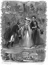 """François-René de Chateaubriand strolling with the Duchess de Berry in Ferrare, September 1833. Illustration for """"Mémoires d'outre-tombe"""" by François-René de Chateaubriand, Book XLI, chapter 3. Engraving by F. Delannoy after R. Demoraine. © Roger-Viollet"""