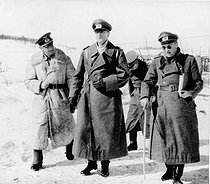World War II. Russian front. Friedrich Paulus, German General (centre) with General Breith, on the right, during the battle of Stalingrad, September 1942 - February 1943. © Roger-Viollet