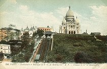 Funicular and Sacré-Coeur basilica in Montmartre. Paris (XVIIIth arrondissement). Postcard, around 1900. © Roger-Viollet