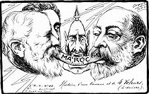 History of a banana and four thieves. . From left to right : Emile Loubet, King Alfonso XIII of Spain, Emperor Wilhelm II and King Edward VII of United Kingdom. Satirical cartoon by Orens about the rivalry in Morocco, on April 30, 1905. © Roger-Viollet