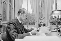 Valéry Giscard d'Estaing (born in 1926), President of the French Republic, in his study at the Elysee Palace. Paris, on October 23, 1974. © Jean-Régis Roustan / Roger-Viollet