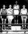 Jeux olympiques d'été de 1960. Mohamed Ali (anciennement Cassius Marcellus Clay, 1942-2016), boxeur américain, remportant la médaille d'or. Rome (Italie), septembre 1960. © TopFoto / Roger-Viollet