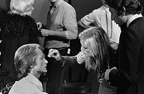 Claude François (1939-1978), French singer, and Michel Drucker (born in 1942), French journalist and television host. Makeup checking on TV set at the Joinville studio (France), April 1972. © Patrick Ullmann / Roger-Viollet