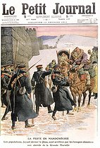 "Plague in Manchuria. People trying to avoid the plague stopped by the Chinese troops in front of the Great Wall. ""Le Petit Journal"", February 12, 1911. © Roger-Viollet"