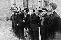 World War II. Missak Manouchian and seven Resistance figthers, arrested in 1944, shortly before their execution (February 1944). Third from the left is Manouchian, with Boczov, Grywacz, unknown, and Elek. © Collection Roger-Viollet / Roger-Viollet