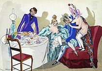 "Dinner at the ""Grisettes"" (good-time girls). Illustration by Bettina Smith. © Roger-Viollet"