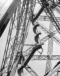 Poutrelles et escalier de la Tour Eiffel. Paris (VIIème arr.), 1947-1948. Photographie de René Giton dit René-Jacques (1908-2003). Bibliothèque historique de la Ville de Paris. © René-Jacques/BHVP/Roger-Viollet
