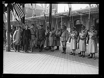 "World War I. John Pershing (1860-1948), US General of the Armies, arriving at the Boulogne-sur-Mer train station (France), escorted by Etienne Anatole Pelletier (1847-1925), French General attaché to the US staff, on June 13, 1917. Photograph published in the newspaper ""Excelsior"", on June 14, 1917. © Excelsior – L'Equipe/Roger-Viollet"