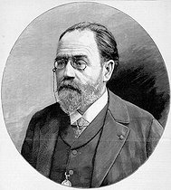 Emile Zola (1840-1902), French novelist, in 1898. Engraving by Navellier, after a photograph by Nadar. © Roger-Viollet