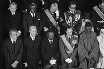 Funeral of Georges Pompidou (1911-1974), President of the French Republic. First row, from left to right : Richard Nixon (President of the United States), Jean-Bedel Bokassa (President of the Central African Republic) and Jean, Grand Duke of Luxembourg. Second row : Willy Brandt (Chancellor of the Federal Republic of Germany) and the son of Hassan II of Morocco. Paris (IVth arrondissement), on April 5, 1974. © Jacques Cuinières / Roger-Viollet