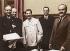 Signature du pacte germano-soviétique. De gauche à droite : Joachim von Ribbentrop, Andor Hencke, Joseph Stalin, Gustav Hilger, Viatcheslav Molotov. Moscou, Kremlin, 23 août 1939. © Ullstein Bild/Roger-Viollet