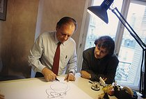 Albert Uderzo and Plantu, French artists, 1994. © Jean-Pierre Couderc/Roger-Viollet