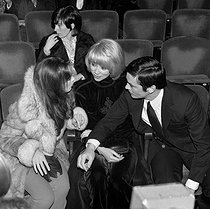 Marie Laforêt, Mireille Darc and Alain Delon, attending a concert of Charles Aznavour, on February 16, 1971. © Patrick Ullmann / Roger-Viollet