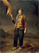 Louis-Léopold Boilly (1761-1845). Simon Chenard (1758-1832), French singer, wearing a sans-culotte costume and holding a flag, celebrating the liberty of Savoy, on October 14, 1792. Paris, musée Carnavalet. © Musée Carnavalet / Roger-Viollet