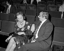Stéphane Audran (1932-2018), French actress, and Claude Chabrol (1930-2010), French director, attending the premiere of Charles Trenet, at the Olympia. Paris, on May 3rd, 1971. © Patrick Ullmann / Roger-Viollet