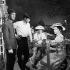 """Christine"", film de Pierre Gaspard-Huit. Jean-Claude Brialy, Alain Delon, Romy Schneider et Sophie Grimaldi. France-Italie, 8 juillet 1958. © Alain Adler / Roger-Viollet"