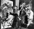 """Salvador Dalí (1904-1989) artiste-peintre surréaliste et sculpteur  espagnol, montrant sa peinture abstraite (à gauche) qu'il a donné au Berkshire Hotel de Londres contre la toile de William-Adolphe Bouguereau (1825-1905) intitulée """"Nymphes et Satires """". 26 janvier 1962. © TopFoto / Roger-Viollet"""