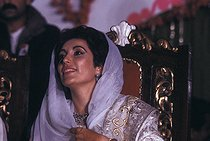Benazir Bhutto (1953-2007), on the day of her wedding with Asif Ali Zadari. Karachi (Pakistan), on December 18, 1987. © Françoise Demulder / Roger-Viollet