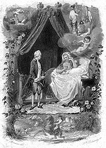"""François-René de Chateaubriand and Mrs de Chastenay, whom she met in 1786. Illustration for """"Mémoires d'outre-tombe"""" by François-René de Chateaubriand, Book IV, chapter 3. Engraving by F. Delannoy after R. Demoraine. © Roger-Viollet"""