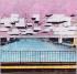 """Yona Friedman (né en 1923). """"Ville spatiale au-dessus de la Seine (partie de l'axe nord-sud)"""". Photographie en noir et blanc coloriée. Feutre, carton, 1959-1960. Paris, musée d'Art moderne.   © Musée d'Art Moderne / Roger-Viollet"""