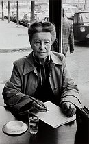 "Simone de Beauvoir. ""The Second Sex"" by Simone de Beauvoir, published in 1949, was an important step in the history of women's emancipation. Paris (VIth arrondissement), boulevard Raspail, 1978. Photograph by Janine Niepce (1921-2007). © Janine Niepce / Roger-Viollet"