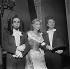 """Les 30 millions de Gladiator"". Robert Manuel, Marie Sabouret and Robert Hirsch. Paris, Comédie-Française, November 1956. © Studio Lipnitzki/Roger-Viollet"