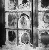 Christmas. Little girl behind a window, 1960's. Photograph by Janine Niepce (1921-2007). © Janine Niepce/Roger-Viollet