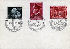 """Guerre 1939-1945. Timbres allemands de 1942. A gauche : """"Le jour des morts au champ d'honneur"""". Au centre : """"Avec le Führer jusqu'à la victoire"""". A droite : """"Hitler et Mussolini  - Front européen contre le bolchévisme"""". © Bilderwelt/Roger-Viollet"""