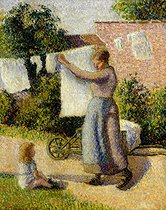 Camille Pissarro (1830-1903). Woman hanging up the washing, 1887. Paris, Musée d'Orsay. © Roger-Viollet