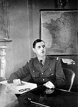 General De Gaulle (1890-1970), French statesman, in his office. London (England), 1942. © Roger-Viollet
