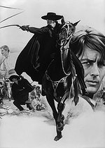 "Drawing for the poster of the movie ""Zorro"" by Duccio Tessari, starring Alain Delon. France/Italy, in 1975. © Roger-Viollet"