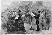 Giuseppe Verdi (1813-1901), Italian composer, conducting the rehearsal of a mass at the Paris Opera Comique. Engraving by Morin from Martin. French National Library. © Albert Harlingue / Roger-Viollet