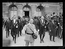 "Signing of the Treaty of Versailles. Lloyd George, Wilson and Clemenceau leaving the palace of Versailles after the signing, on June 28, 1919. Photograph published in the newspaper ""Excelsior"" on Sunday, June 29, 1919. © Excelsior - L'Equipe / Roger-Viollet"