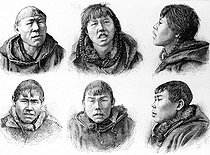 Faces of Inuit men (Greenland). Engraving, 1886. © Roger-Viollet