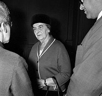 Golda Meir (1898-1978), minister of Israel Foreign Affairs. Paris, quai d'Orsay, on September 20, 1965. © Roger-Viollet