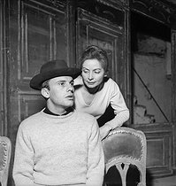 """Jacques ou la soumission"", play by Eugène Ionesco.  Jean Louis Trintignant and Reine Courtois. Paris, Studio des Champs-Elysées, February 1961. © Bernard Lipnitzki / Roger-Viollet"