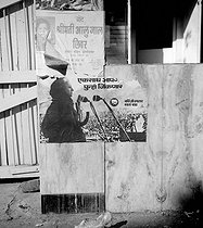 General election in Bombay (India). Posters of the Congress Party. Below, Mrs Indira Gandhi (1917-1984), leader of the party and leader of the Indian government. March, 1972. © Roger-Viollet