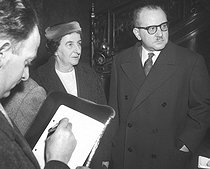 Golda Meir, Israeli Foreign minister, answering the journalists' questions after her meeting with Guy Mollet (right), president of the French council. March 16, 1957.  © Roger-Viollet