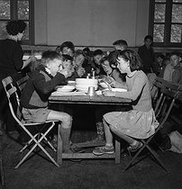 Canteen in an primary school. Aubervilliers (France), 1953. Photograph by Roger Berson. © Roger Berson/Roger-Viollet