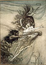 """""""The Rhine Gold"""" (Das Rheingold), opera by Richard Wargner. Alberich and the Rhinemaidens. Illustration by Arthur Rackham (1867-1939), 1910. Collection Bruno Lussato. Paris, French National Library. © Colette Masson/Roger-Viollet"""