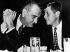 John Fitzgerald Kennedy (1917-1963), et Lyndon Baines Johnson (1908-1973), sénateurs américains. 1960. © Ullstein Bild / Roger-Viollet