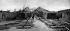 Guerre 1939-1945. Bâtiment de contrôle et zone de lancement de missiles camouflés. Les rails sont protégés de chaque coté par des murs pare-souffle. Normandie (France), 1944. © TopFoto / Roger-Viollet