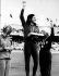 Jeux Olympiques de 1968. Colette Besson, recevant la médaille d'or du 400 mètres, Lilian Board (à gauche), la médaille d'argent et Natalia Pechenkina (à droite), la médaille de bronze. Mexico, 17 octobre 1968. © TopFoto / Roger-Viollet