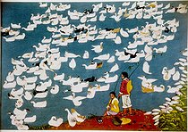 """ The ducks of the Township "". Chinese farmer painting. Popular township of Hou - Hsien (Shaanxi). Years 1960-70. © Roger-Viollet"